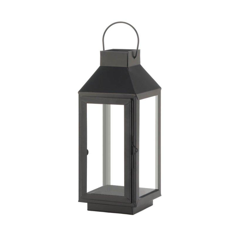 Image 0 of Charming Medium Matte Black Square Top Candle Lantern w/ Large Loop