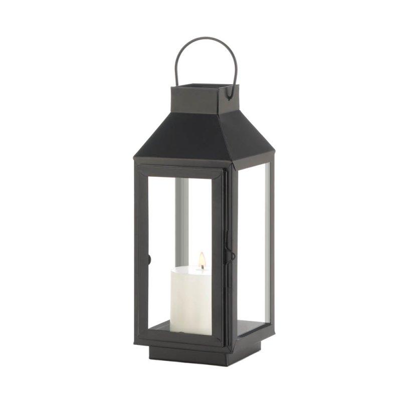 Image 1 of Charming Medium Matte Black Square Top Candle Lantern w/ Large Loop