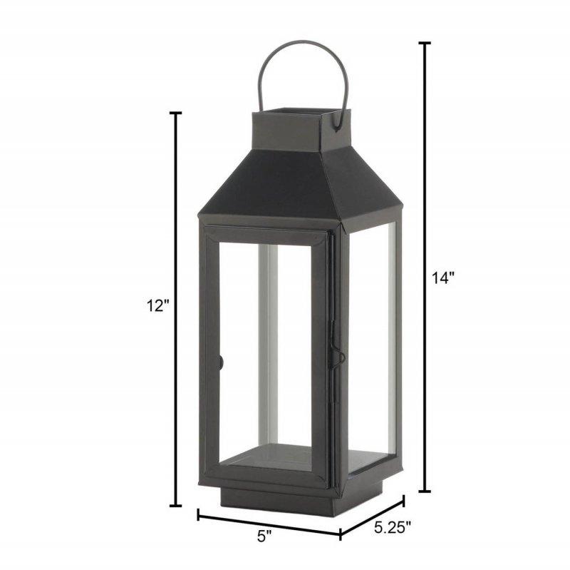 Image 2 of Charming Medium Matte Black Square Top Candle Lantern w/ Large Loop