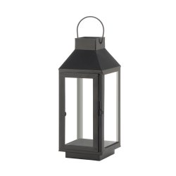 Charming Medium Matte Black Square Top Candle Lantern w/ Large Loop