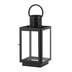 Rustic Chic Black Square Candle Lantern w/ Rounded Top