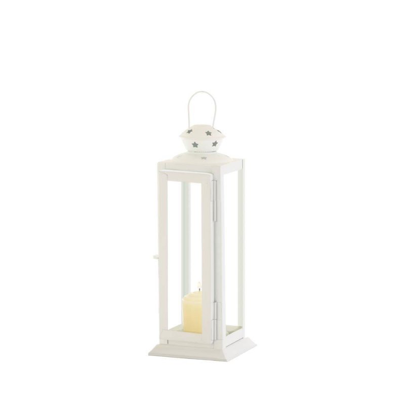 Image 1 of Small White Traditional Rounded Top w/ Star Cutouts Candle Lantern
