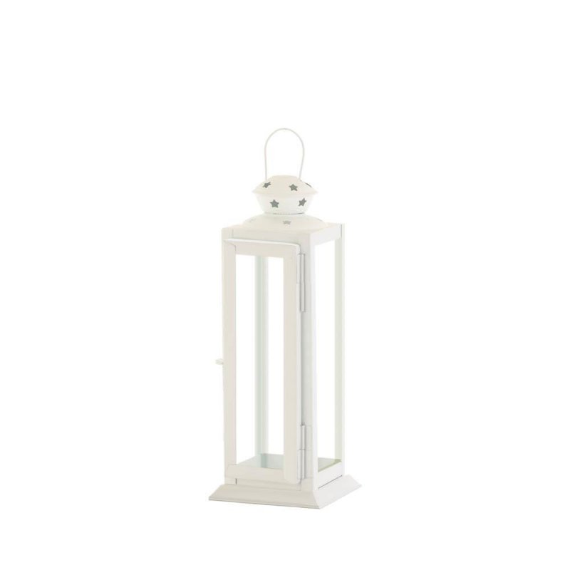Image 2 of Small White Traditional Rounded Top w/ Star Cutouts Candle Lantern