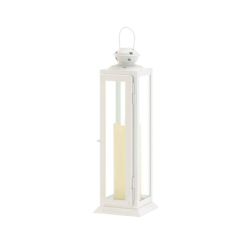 Image 1 of Large White Traditional Rounded Top w/ Star Cutouts Candle Lantern