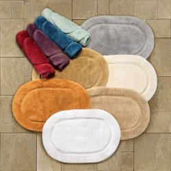 2-Pc Superior Luxurious Combed Cotton Oval Non-Skid Bath Rug Set