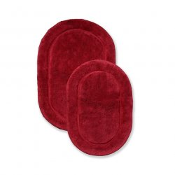 '.Burgundy Oval Cotton Bath Rugs.'
