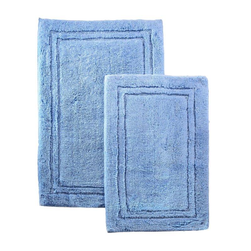 2-Piece Light Blue Cotton Bath Rug Set