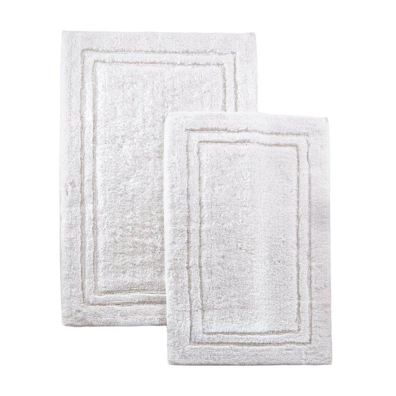 2-Piece White Cotton Bath Rug Set