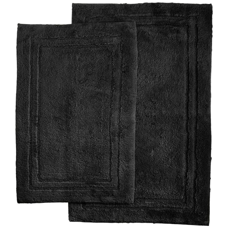 2-Piece Black Cotton Bath Rug Set