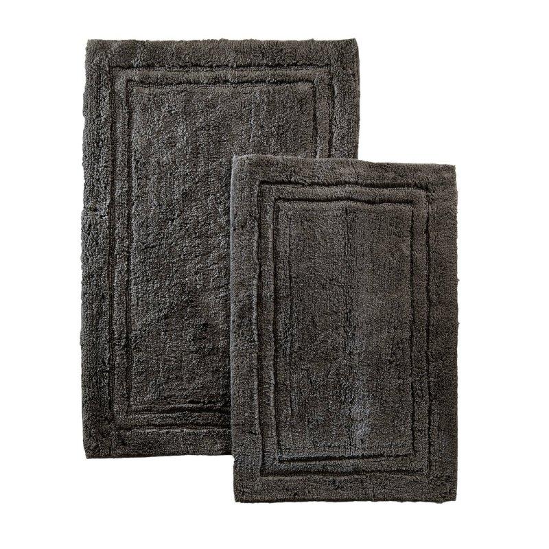 2-Piece Charcoal Cotton Bath Rug Set