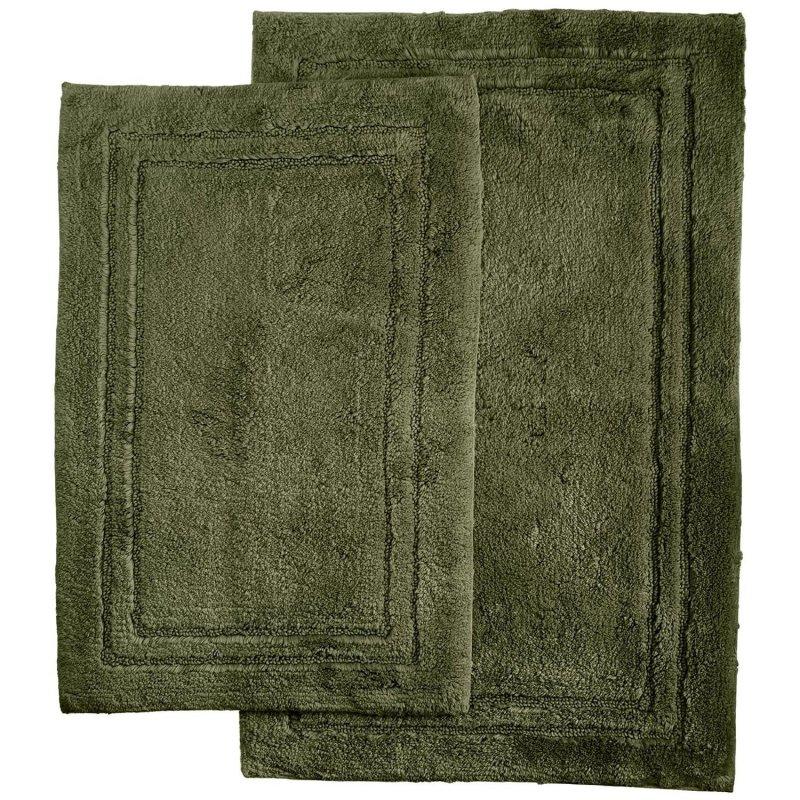 2-Piece Forest Green Cotton Bath Rug Set