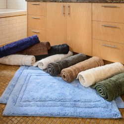 2-Pc Superior Luxurious Combed Cotton Non-Skid Bath Rug Set