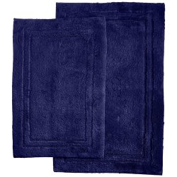 '.Navy Blue Cotton Bath Rugs.'