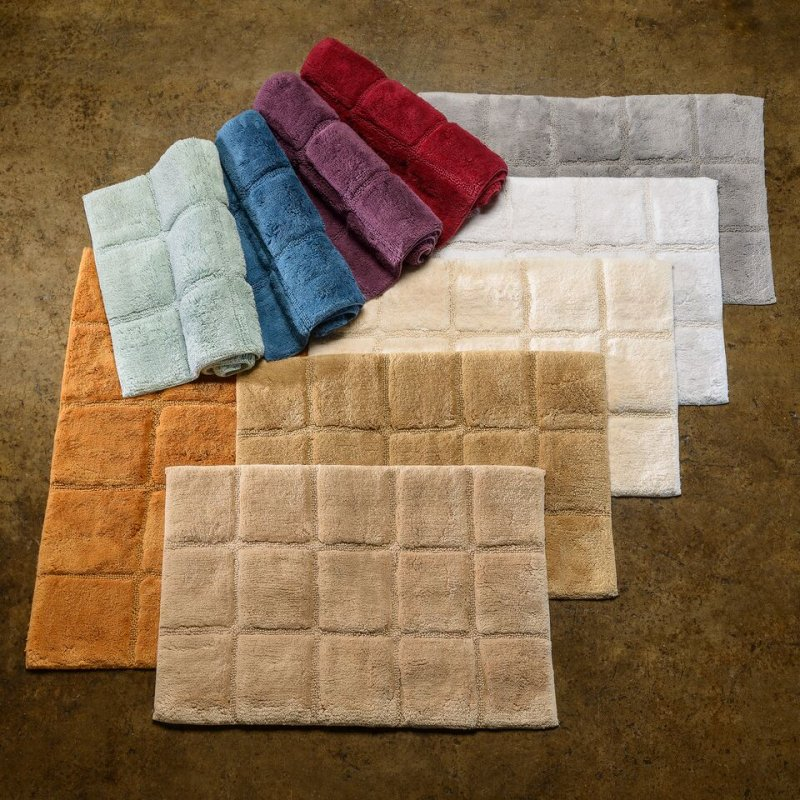 Image 0 of 2-Pc Superior Luxurious Combed Cotton Checkered Non-Skid Bath Rug Set
