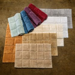2-Pc Superior Luxurious Combed Cotton Checkered Non-Skid Bath Rug Set