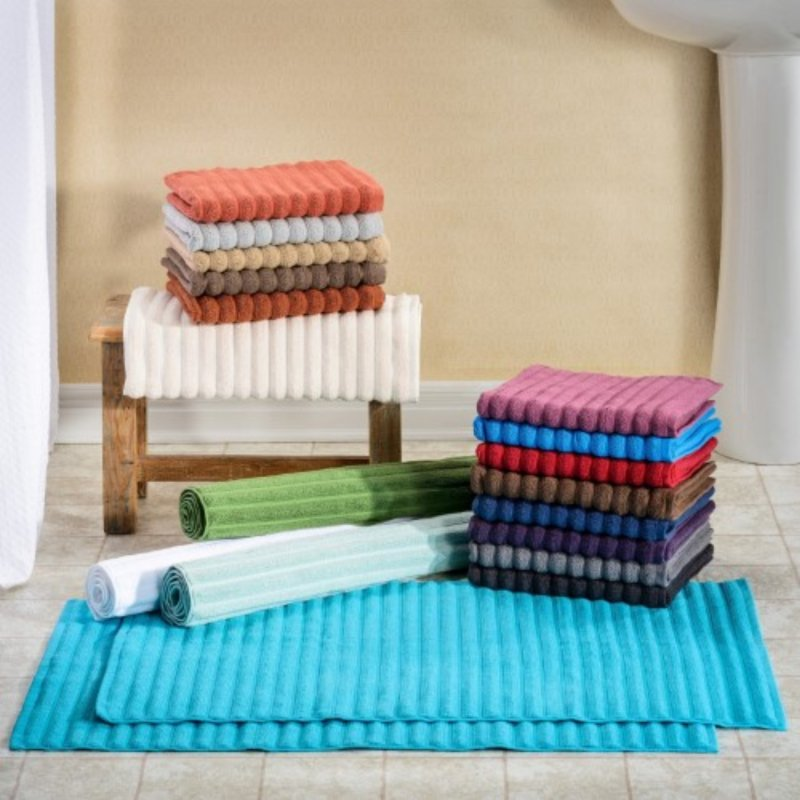 Image 0 of Set of 2 100% Long Staple Cotton 1000 GSM Ribbed Bath Mats