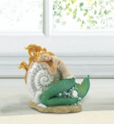 Blonde Mermaid Sleeping on Seashell Figurine