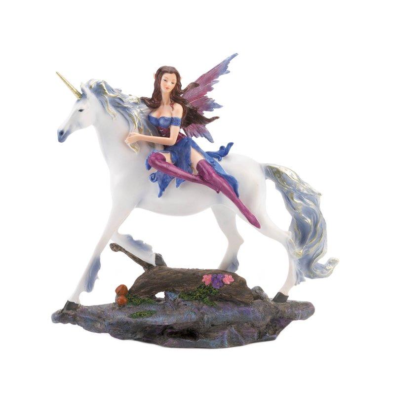Image 1 of Blue Dressed Fairy Riding White Unicorn Figurine