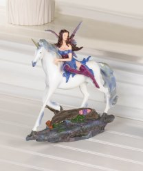 Blue Dressed Fairy Riding White Unicorn Figurine
