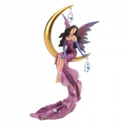Beautiful Fairy Sitting on Golden Crescent Moon w/ Caged Gem Stones Figurine