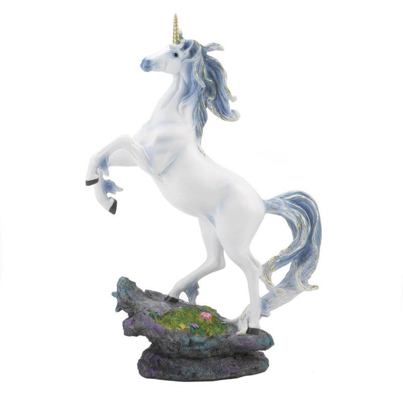 Image 1 of Rearing Silver & Blue Mane White Unicorn w/ Golden Horn Figurine