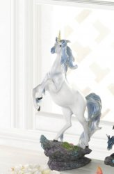 Two Silver & Blue Mane White Unicorns in Love w/ Golden Horn Figurine