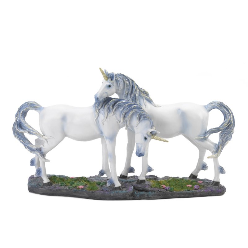 Image 1 of Two Silver & Blue Mane White Unicorns in Love w/ Golden Horn Figurine