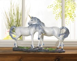 Rearing Silver & Blue Mane White Unicorn w/ Golden Horn Figurine