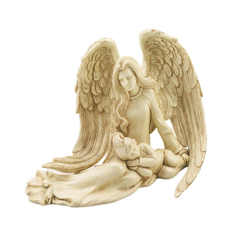 Image 1 of Guardian Angel with Sleeping Child Figurine Ivory Stone Wash Finish