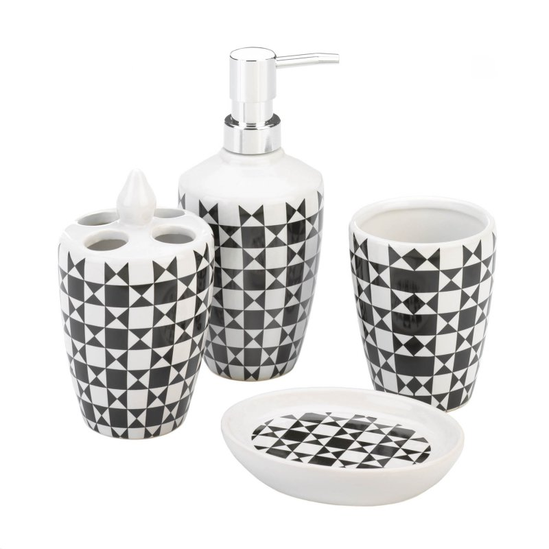 Image 0 of 4-pc. Contemporary Chic Black & White Geometric Pattern Bath Accessory Set