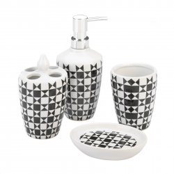 4-pc. Contemporary Chic Black & White Geometric Pattern Bath Accessory Set