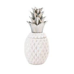 White Ceramic Pineapple Shape Decorative Jar w/ Silver Lid Tropical Decor