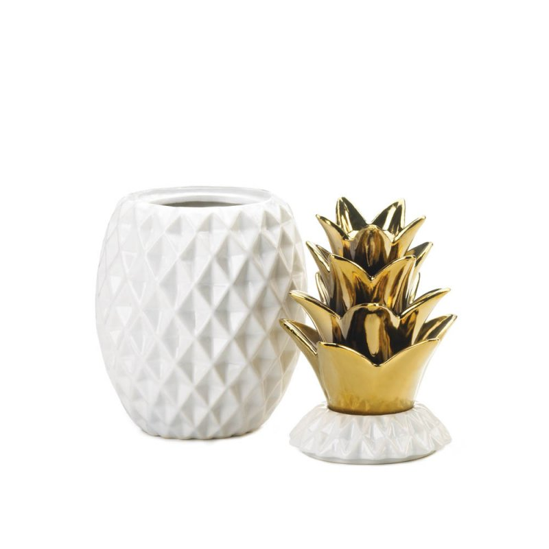 Image 1 of White Ceramic Pineapple Shape Decorative Jar w/ Gold Lid Tropical Decor