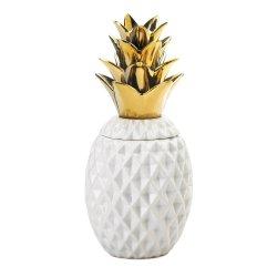 White Ceramic Pineapple Shape Decorative Jar w/ Gold Lid Tropical Decor