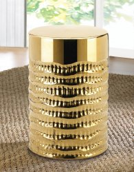 Gold Textured Ceramic Accent Table, Seating Stool or Footstool, Plant Stand