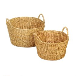 Set of 2 Natural Hyacinth Straw Round Wicker Storage Nesting Baskets w/ Handles