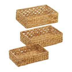 Set of 3 Natural Hyacinth Straw Wicker Storage Nesting Baskets Trays