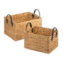 2 Natural Hyacinth Straw Wicker Storage Nesting Baskets w/ Faux Leather Handles