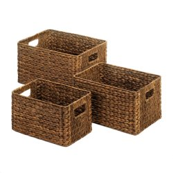 Set of 3 Brown Hyacinth Straw Wicker Storage Nesting Baskets w/ Built in Handles