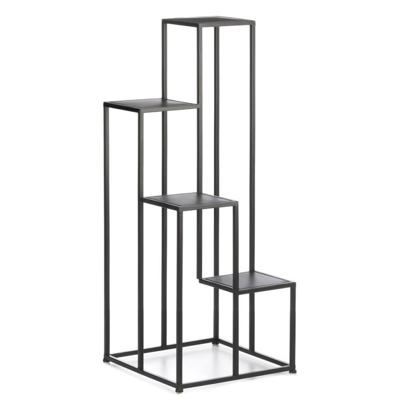 Image 0 of Modern Matte Black 4 Tier Geometric Design Plant Stand use Indoors or Outdoor