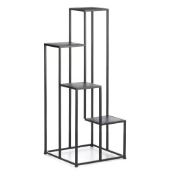 Modern Matte Black 4 Tier Geometric Design Plant Stand use Indoors or Outdoor