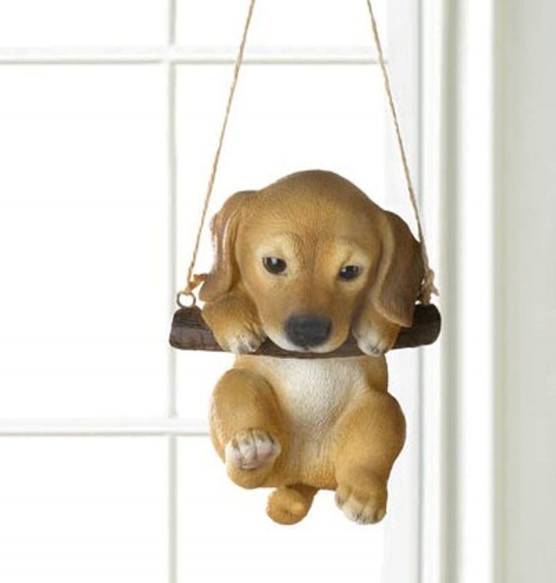 Image 0 of Golden Lab Puppy on Log Swing Hanging Figurine Indoor or Garden Patio Decor