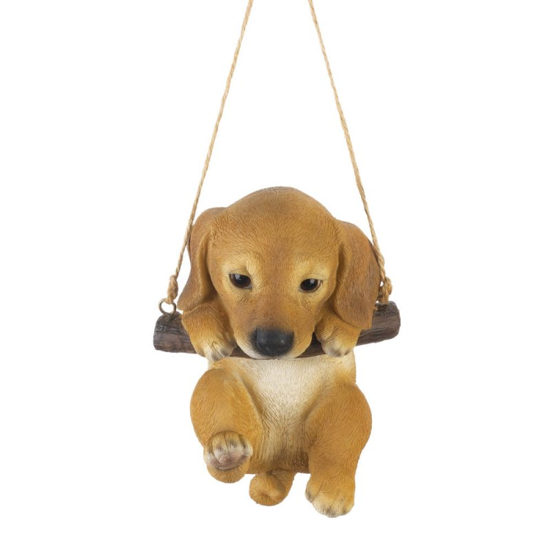 Image 1 of Golden Lab Puppy on Log Swing Hanging Figurine Indoor or Garden Patio Decor
