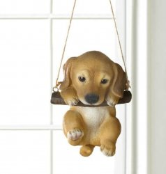 Golden Lab Puppy on Log Swing Hanging Figurine Indoor or Garden Patio Decor