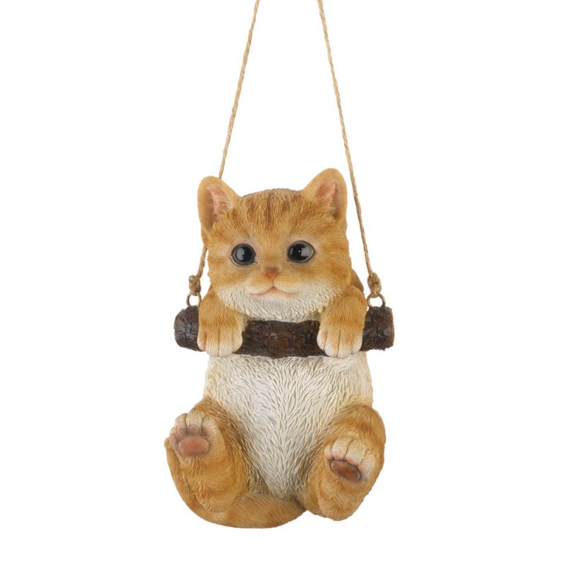 Image 1 of Orange Tabby Kitty Cat on Log Swing Hanging Figurine Indoor/Garden Patio Decor