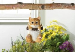 Orange Tabby Kitty Cat on Log Swing Hanging Figurine Indoor/Garden Patio Decor