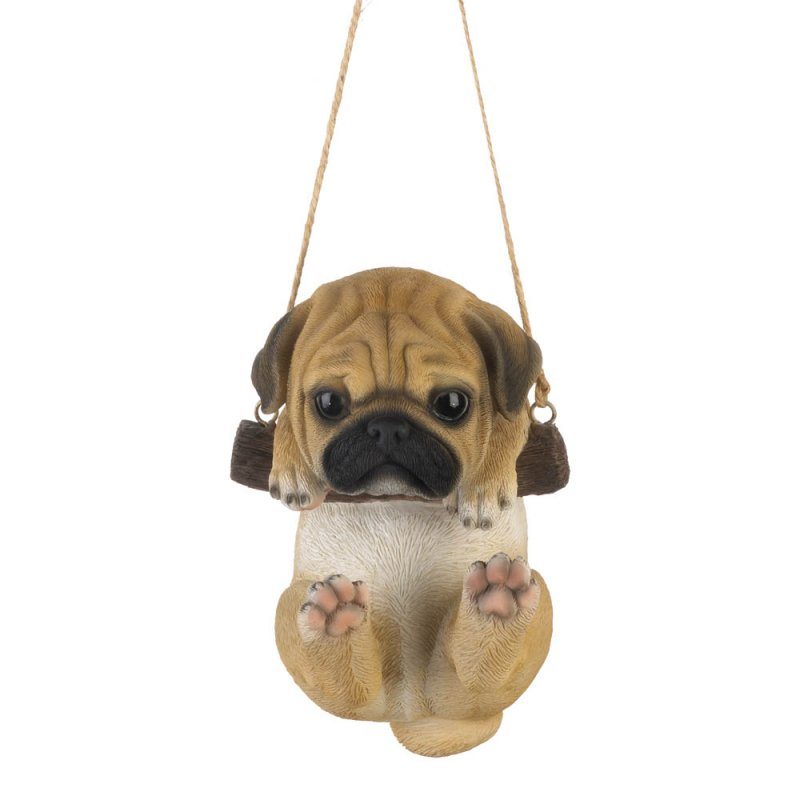 Image 1 of Pug Puppy on Log Swing Hanging Figurine Indoor or Garden Patio Decor