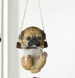 Pug Puppy on Log Swing Hanging Figurine Indoor or Garden Patio Decor