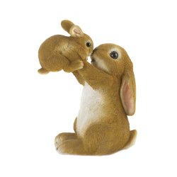 Playful Mom and Baby Rabbit Garden Figurine