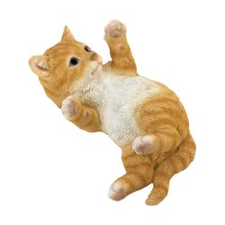 Orange Tabby Kitty Cat in Motion Laying on His Back Garden Figurine